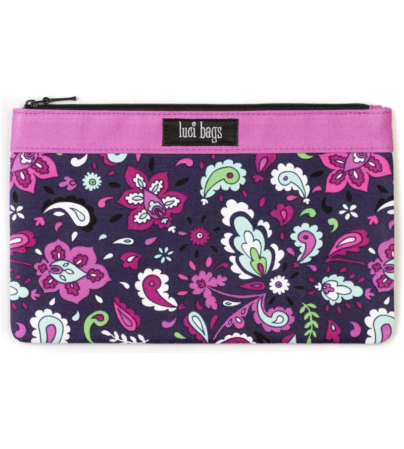 Plum Paisley Large Accessory Bag